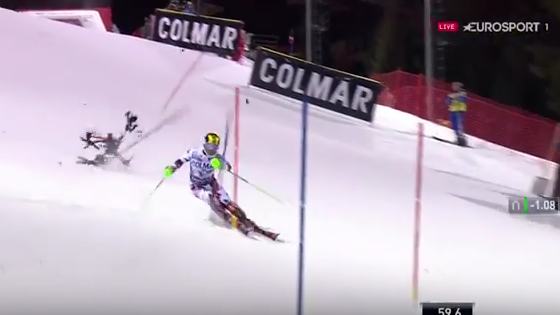 hirscher Broadcast UAV Falls Behind Skier During Race in Italy