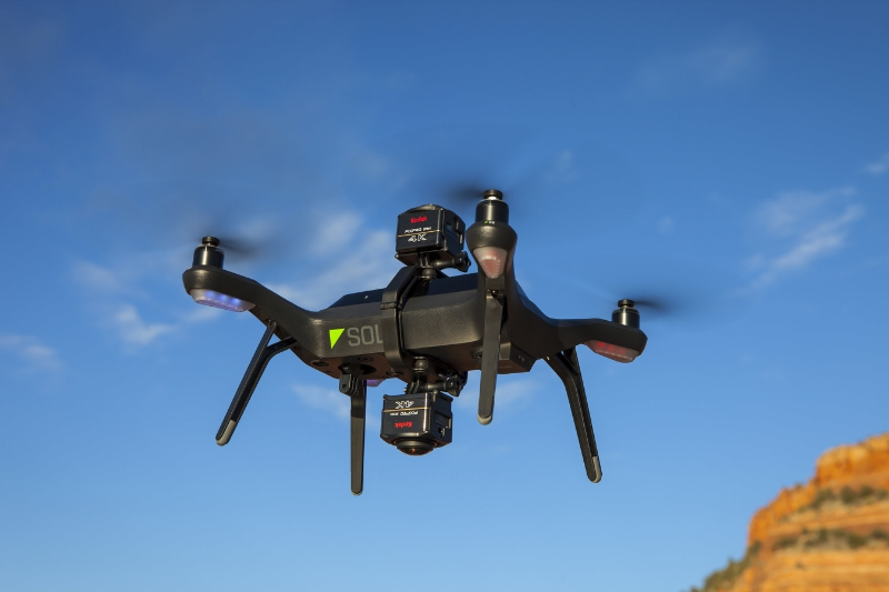 376670 Two SP360 4K Cameras on One 3DR Solo Drone Offer 360-Degree Video
