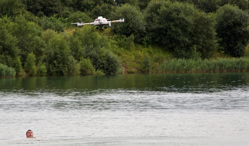 394580 Quadcopter and Flotation Device Carry Out Successful Water-Rescue Demo