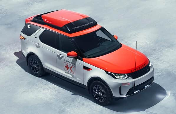 high34closed Jaguar Land Rover Teams with Red Cross for Drone-Equipped SUV