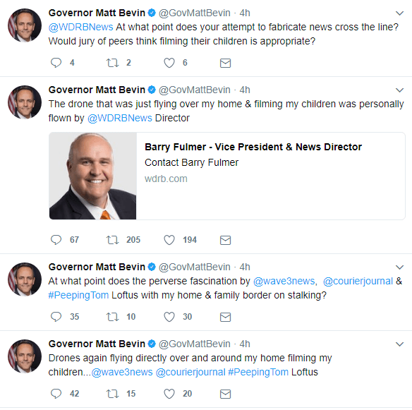 bevin Kentucky Governor Claims Drone Flew Over House, Filmed Children